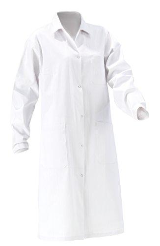 Laborkittel Damen Herren Kittel Medizin weiß Baumwolle Druckknöpfe (Damen 46)