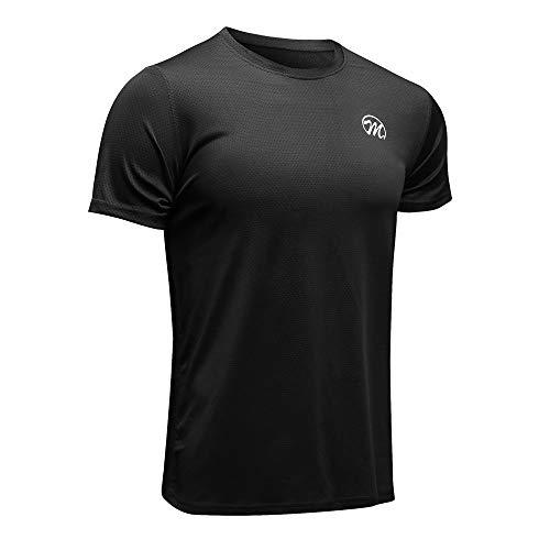 MEETWEE Sportshirt Herren, Laufshirt Kurzarm MeshFunktionsshirtAtmungsaktivKurzarmshirt Sports Shirt Trainingsshirtfür Männer, Schwarz, L -