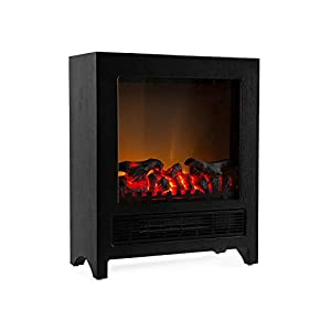 Klarstein Zermatt Electric Fireplace with Flame Effect • 750/1500 W • Switchable Heating Function • Thermostat • InstaFire Principle • 20 m² • Retro Design • Black