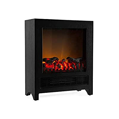 Klarstein Zermatt Electric Fireplace with Flame Effect • 750/1500 W • Switchable Heating Function • Thermostat • InstaFire Principle • 20 m² • Retro Design • Black