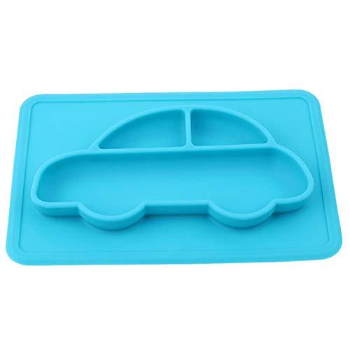 Baby Schalen Teller Geschirr Kinder Lebensmittelbehälter Tischset Geschirr Säuglingsnahrung Tasse Kind Silikon Kinder Futterteller neu, blau