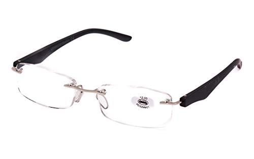 Lesebrille ohne Rahmen, müde Sicht, Graduierung +1.00 bis +4.00, Unisex Brille für Männer und Frauen mit Pasta-Rahmen, Standardscharniere für Lesen, siehe Nahaufnahme +1.5 Schwarz