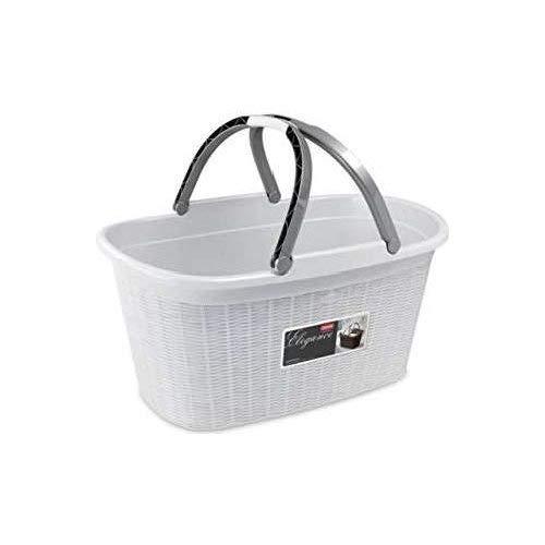 Stefanplast elegance cesta portabiancheria con manici, bianco, cm 38x58x29,5h