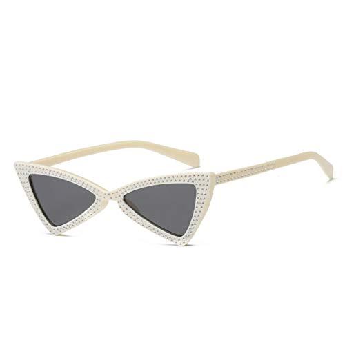 YLNJYJ Mode Kleine Cat Eye Sonnenbrille Frauen Marke Kristall Diamant Dreieck Sonnenbrille Vintage Butterfly Sonnenbrille Shades Brillen