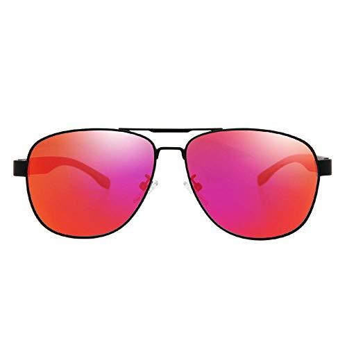 Klassisches Retro-Outdoor-EssentialEdelstahl polarisierte Sonnenbrille Farbverlauf dekorative Sonnenbrille-rot