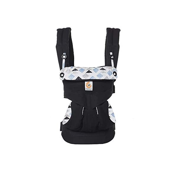 Ergobaby Baby Carrier for Toddler, 360 Collection, 4-Position Ergonomic Child Carrier and Backpack (Triple Triangles) Ergobaby Ergonomic baby carrier with 4 carry positions: front-inward, back, hip, and front-outward. The carrier is suitable for babies and toddlers weighing 5.5 to 20kg, and can be used as a back carrier. Also with insert for newborn babies weighing 3.2-5.5kg, sold separately. NEW - Maximum comfort for parent: Longwear comfort with lumbar support waistbelt and extra cushioned shoulder straps. The carrier is suitable for men and women. Maximum baby comfort - The structured bucket seat supports the correct frog-leg position for the baby. The carrier also has a padded, foldable head and neck support. Ergobaby carriers are a new take on the usual baby sling. 2
