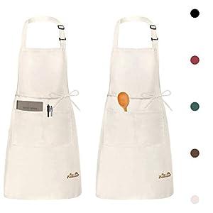 Viedouce 2 Pezzi Grembiule da Cucina Chef,Grembiule da Ristorante BBQ Bar Chef Cucina,Regolabile Grembiuli con Tasche… 31C1qXkgyeL. SS300