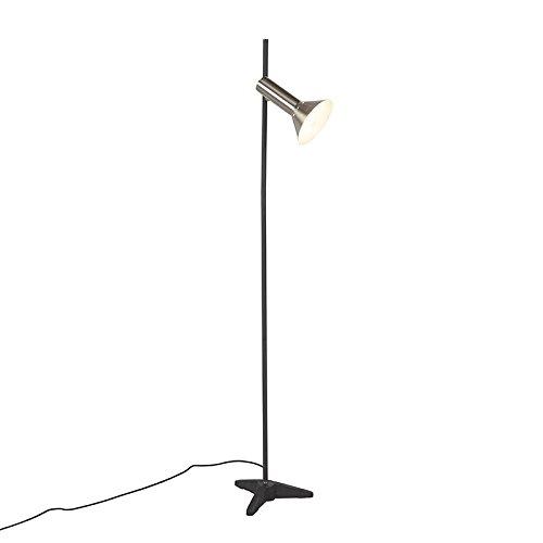 QAZQA Modern Moderne Stehleuchte/Stehlampe/Standleuchte/Lampe/Leuchte Stahl/Silber/nickel matt 1-Licht - Speaker/Innenbeleuchtung/Wohnzimmer/Schlafzimmer/Küche Metall Andere LED ge (Ge-licht-schalter)