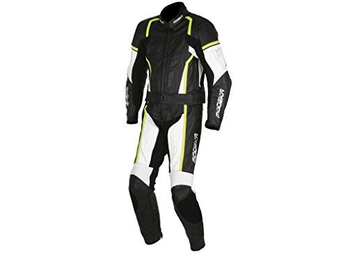 Modeka CHASER Herren 2-teiliger Leder Motorradkombi - schwarz weiss neon gelb Größe 48