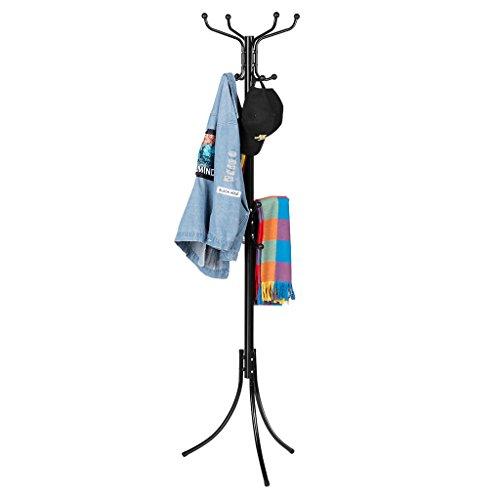 Langria stand appendiabiti attaccapanni moderno funzionale in metallo da 16 colonne con cappuccio protettivo rotondo e piedini di livellamento solido per sala camera da letto 38 x 38 x 181 cm (nero)