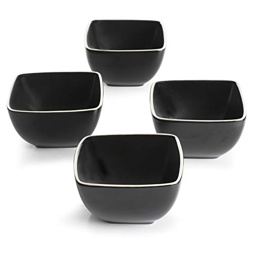 Gibson Overseas, Inc. Gibson Elite 99802.04R 4 Stück Soho Lounge Soft Square Tidbit Bowls Black Matte Soho Square Bowl