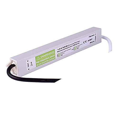 Transformateur d'alimentation électrique 110-250 V AC vers 12 V DC pour LED, étanche IP67, couleur argent, Silver, IP67 36W 36.00watts