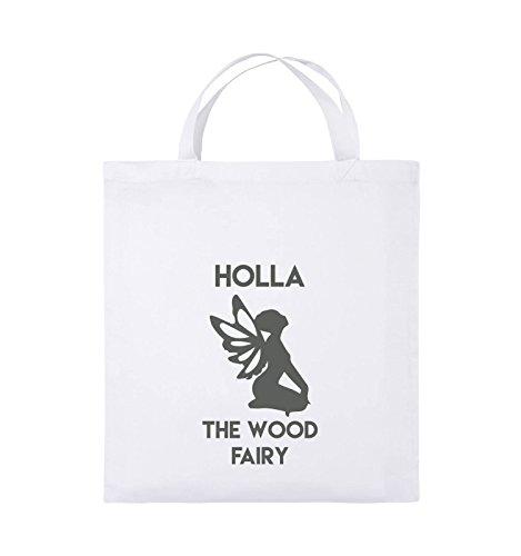 Comedy Bags - HOLLA THE WOOD FAIRY - Jutebeutel - kurze Henkel - 38x42cm - Farbe: Schwarz / Weiss Weiss / Grau
