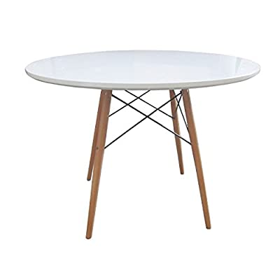 Charles Bentley Home Retro Designer Round Wooden White Wood Dining Table 103Cm Diameter