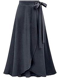 74e92f4fefe Les umes Women s Knit Elastic High Waist Midi Length A-Line Flare Flowy  Skirts