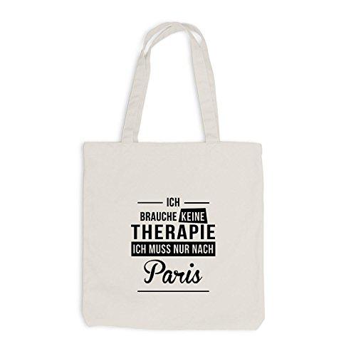 Jutebeutel - Ich Brauche Keine Therapie Paris - Therapy Urlaub Frankreich Beige