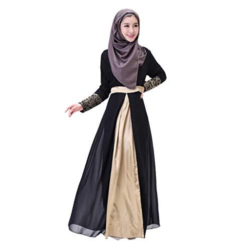 (LILICAT Kleid Damen Robe Lange Maxi Kleid Dubai Patchwork Rock Islam Abaya Muslimische Kleidung Wrap Langarm Casual Dress Abendkleider Elegant Kleid Cocktail Petticoat)