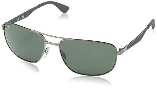 Ray Ban Herren Sonnenbrille RB3528 Matte Gunmetal/DarkGreen, One size (61)