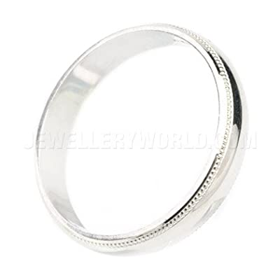4mm 9ct White Gold Mill Grained Wedding Ring