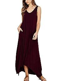 0314d40bcf6 BOLAWOO Robes Dames Longues Loisirs Irrégulière Robe Lâche Manches Longues  Mode Chic Col en V Coton