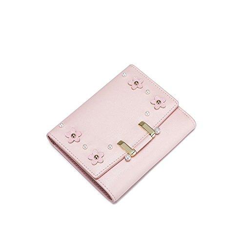 Yvonnelee Donne Della Signora Lungo Della Borse Borsa cuoio genuino Della Carta Portafoglio Leather Titolare Rosa