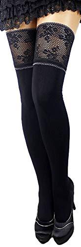 Unbekannt 120 den blickdichte halterlose Strümpfe warm schwarz mit sehr breiter Spitze und Silikon versch. Farben S-XL EU (XL, schwarz/schwarz)