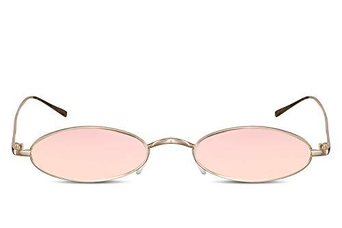 Cheapass Sonnenbrille Klein Oval Rosé-Gold Pink Verspiegelt UV-400 Festival-Brille Metall Damen Frauen