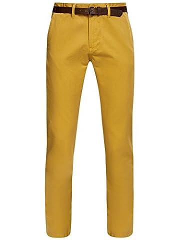 oodji Ultra Homme Pantalon Chino avec Ceinture, Jaune, FR 40