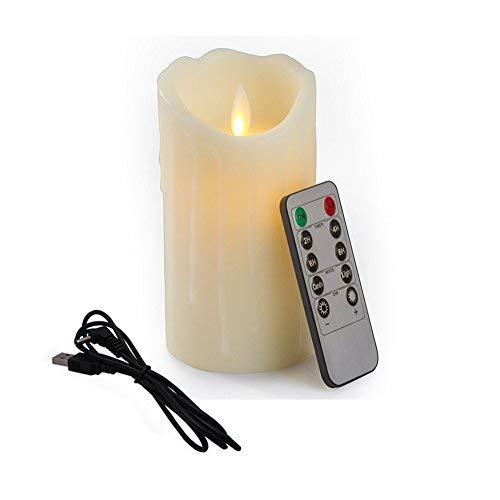Bello Luna 5.9in LED vela sin mecha Tear Wave en forma de vela oscilante ambiental y recargable con control remoto
