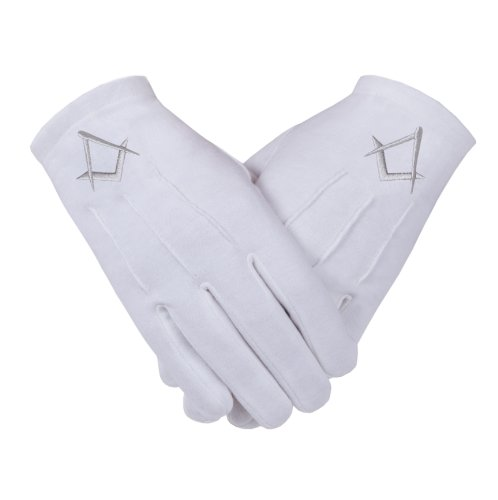 Freimaurer Freimaurer Handschuhe in Baumwolle in Silber Bestickt S & C Gr. L, White with Silver S+C