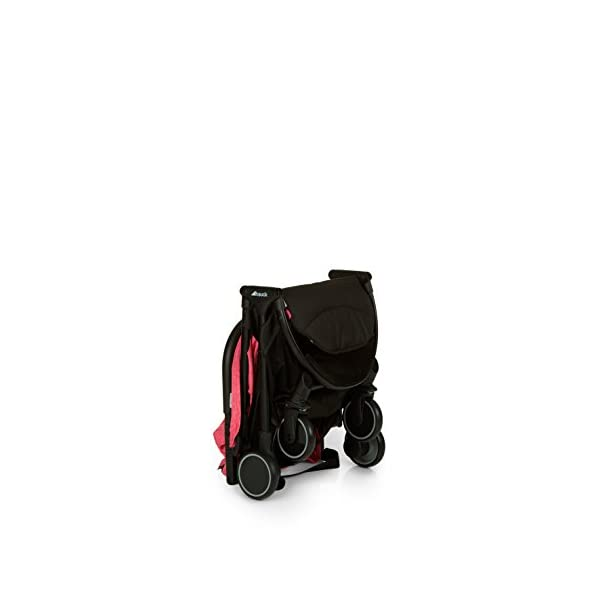 Hauck Swift One Hand, Compact Fold Pushchair with Raincover, Melange Pink/Black Hauck A sporty stroller with one-hand folding mechanism The comfortable seat has an adjustable backrest and adjustable footrest down to lying position - ideal even for newborns Lightweight aluminium frame - only 6.4kg 5