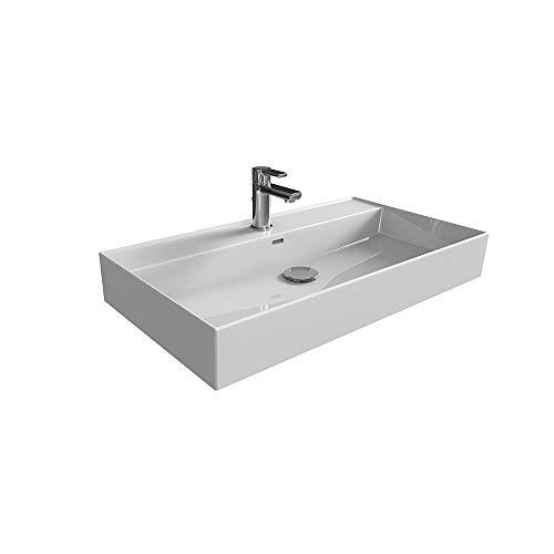 Aqua Bagno Loft Air Design Waschbecken / 80 x 46 cm Keramik weiß Waschtisch Waschschale Möbelwaschtisch