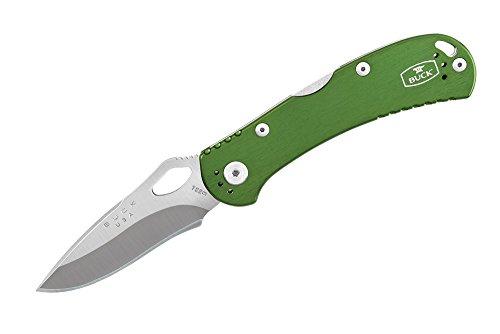 Buck Einhandmesser Spitfire, grün, Stahl 420HC, Back-Lock, Aluminium-Griffschalen, Edelstahl-Clip