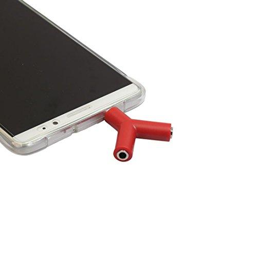 Tefamore Adaptador De 3,5 mm Stereo Audio Y-Splitter 2 Hembra a 1 Cable Macho Para Auriculares (Rojo)