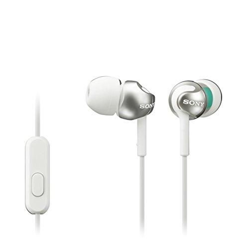 Sony MDR-EX110AP Cuffie Auricolari con Microfono, Bianco