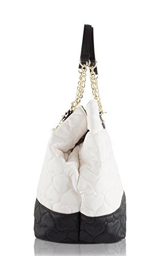 Betsey Johnson, Borsa a spalla donna, Cream/Black (bianco) - BR24535 Cream/Black