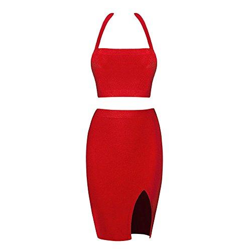 HLBandage 2 Stück Halter Ansatz Kunstseide Seiten Schlitz Verband-Kleid Rot