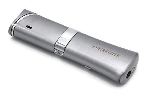 Scott & Webber - Feuerzeug Gas Sturmfeuerzeug Silber 100% Metall mit windfester Jetflamme/Pfeife, Zigarette, Zigarre/Gasfeuerzeug / Nachfüllbar, Einstellbar/bis 1300°C #SMART #Easy #ELEGANT