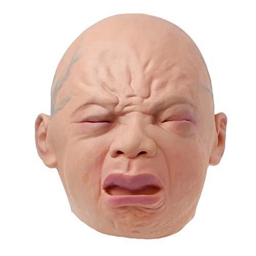 KEIBODETRD Maschera per Neonato pianto in Lattice Testa Piena pianto Halloween Festa di Natale Decorazioni in Costume Maschera Horror della casa stregata