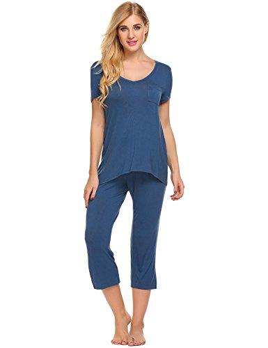 Baumwolle Ärmellose Capri Pyjama (Untlet Damen Kurzarm Capri Pyjama Set Polyester Einfarbig)
