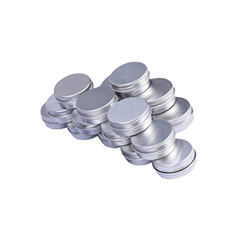 Lurrose 24 stücke Leere Make-up Creme Boxen kosmetische Aluminium Box Container Glas Topf Gewinde Box für Reise (Silber 5g 3x3x2 cm) -