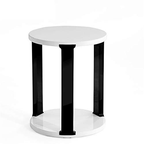 LXQGR Tables Basses à 2 Niveaux Table d'appoint Table à café Ronde Plateau déplaçable Style scandinave Pieds en Bois de pin Massif Couleur Blanche Naturelle
