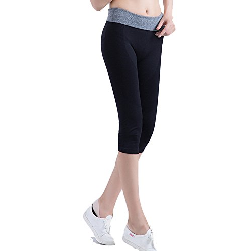Laixing Bonne Qualité 1617 Women's Capri Yoga Sport Pants High Waist Cropped Leggings Fitness Trouser gray