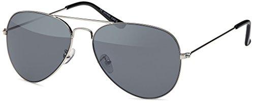 MOKIES Unisex Sonnenbrillen - UV400 Filterkategorie 3 CE Kennzeichnung - Pilotenbrille Fliegerbrille - Polycarbonat - Edelstahl - 503 silber/anthra