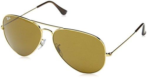 Ray Ban Unisex Sonnenbrille Aviator Classic, Gr. X-Large (Herstellergröße: 62), Braun (Gestell: Gold, Gläser: Kristall Braun  )