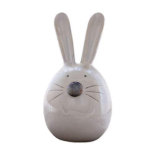 Coniglietto pasquale, salvadanaio coniglio grande ornamentale piggy bank in ceramica 23cm color visone con finitura a smalto perlato regalo per ragazzi e ragazze adulti e bambini
