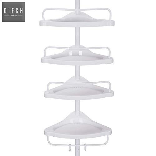 DIECH 4-stöckiges verstellbares Badezimmer-Eckregal, Duschregal, Teleskop-Organizer, rostfrei, 4 Ablagen