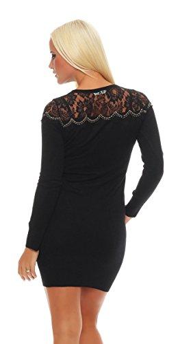 4269 Fashion4Young Damen Longpullover Strickkleid Pullover Long Feinstrick Long Pulli Minikleid Schwarz