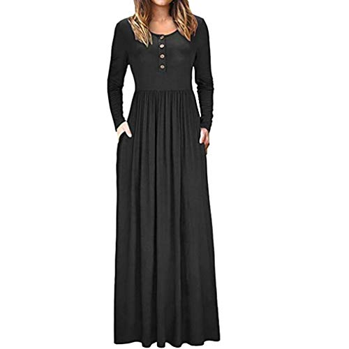 Babaseal Frauen Langarm-lose Plain Maxi Kleider beiläufige Lange Kleider mit Taschen (Farbe : Schwarz, Größe : Mittel)