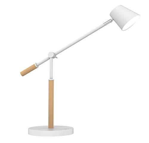 Unilux 400110084 LED Leuchte Vicky Skandinavischer Stil In Holz und Modern Minimalistisch Stil Büro Holz Schreibtisch Schreibtischlampe Weiss